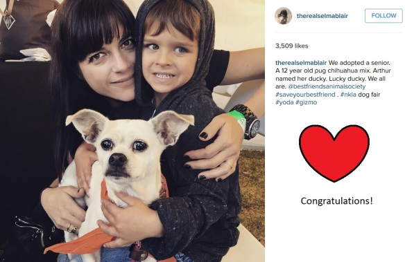 selma blair adopts a dog!