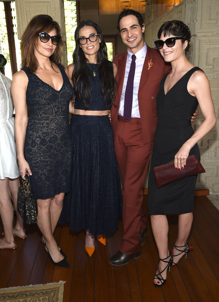 Actress Gina Gershon, actress Demi Moore, fashion designer Zac Posen and actress Selma Blair attend the M.A.C Cosmetics Zac Posen luncheon at the Ennis House