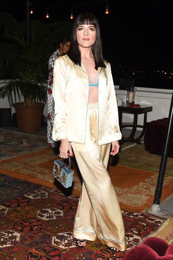 Dolce and Gabbana Pyjama Party February 2016 wearing D&G silk