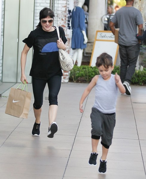 Selma Blair and son Arthur pick up new kicks at the Grove 5