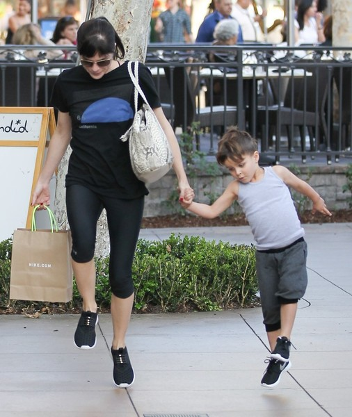 Selma Blair and son Arthur pick up new kicks at the Grove 9